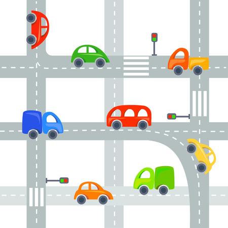 Flach Autos und Straßen Hintergrund, nahtlose