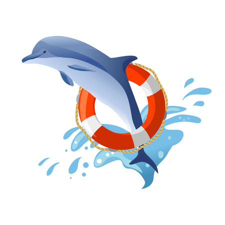 Delphin-Springen. Lifebuoy. Vektor-Illustration Illustration