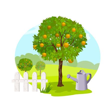 im Garten Garten und Obstbäumen, arbeiten. Vektor-Illustration Illustration