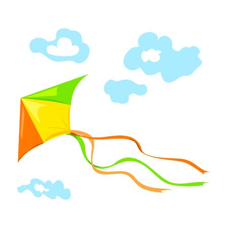 einen Drachen fliegt mit Wolken. Vektor-Illustration