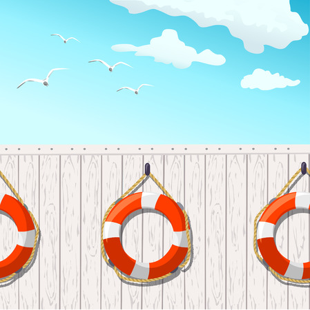 Hintergrund lifebuoys. Meeresdekor. Vektor-Illustration Illustration