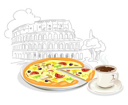 Italienische Pizza und Kaffee. Sketch Coliseum. Vektor-Illustration