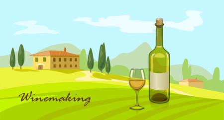 Landschaft im ländlichen Raum italienische Weinbereitung. Vektor-Illustration Illustration