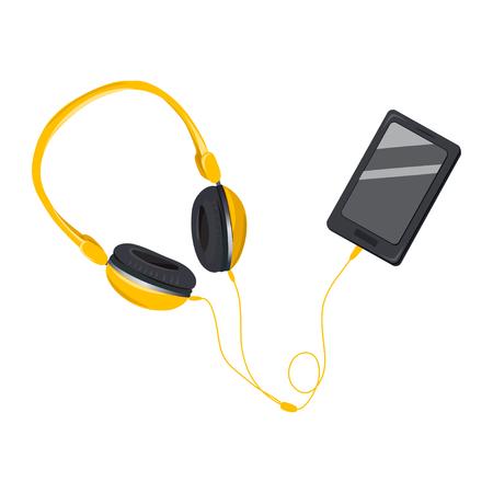 große Kopfhörer mit dem Telefon. isoliert. Vektor-Illustration