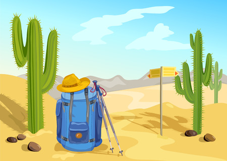 through travel: hiking with a backpack. travel through the desert with cactuses. vector illustration