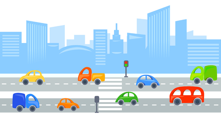 city view: city traffic, urban view background. vector illustration Illustration