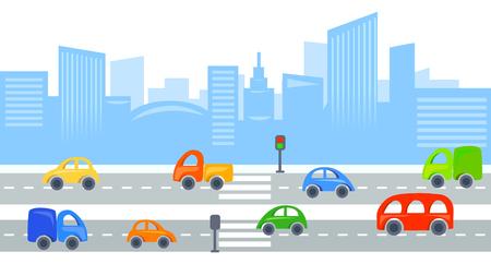 city background: city traffic, urban view background. vector illustration Illustration