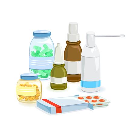 recetas medicas: conjunto de preparaciones médicas aislado. ilustración vectorial