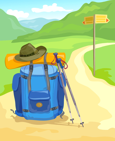 climbing mountain: trail in the mountains, tourist backpack traveler. vector illustration Illustration