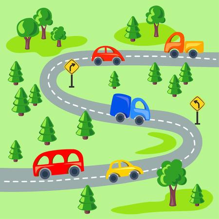Flachwagen und Straße durch den Wald. Vektor-Illustration