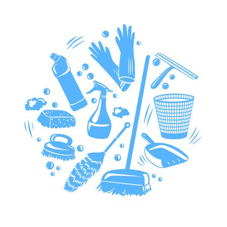 cleaning tools in a home, silhouette. vector illustration