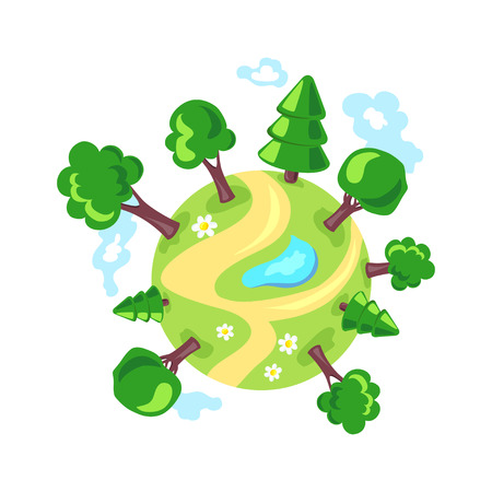 planet Earth. forest. eco. vector illustration Illustration