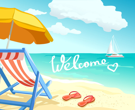 beach paradise, welcome, relaxing on the beach. vector illustration