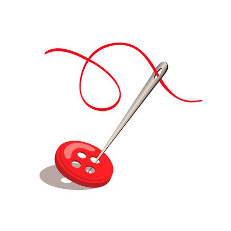aiguille et du fil et le bouton isolé. illustration vectorielle