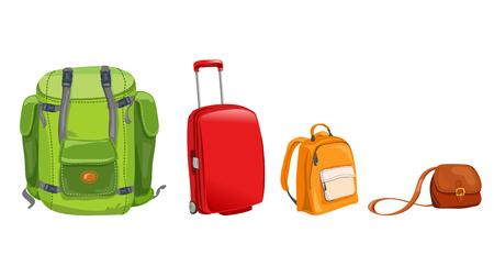 Satz von Gepäck für die Reise. Vektor-Illustration
