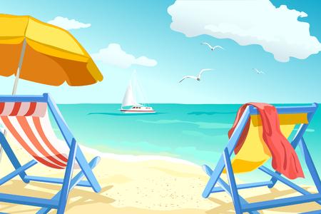 recreación, relajarse en la playa, tumbonas para parejas. ilustración vectorial Ilustración de vector