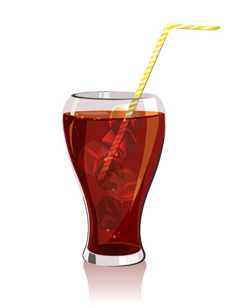 cold drink, soda with ice. vector illustration