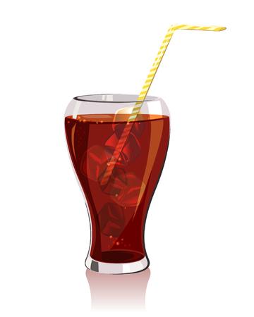 kaltes Getränk, Soda mit Eis. Vektor-Illustration