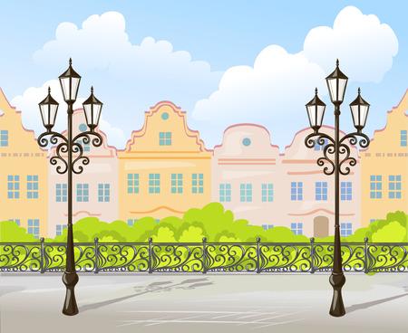 city background: background vintage city. vector illustration