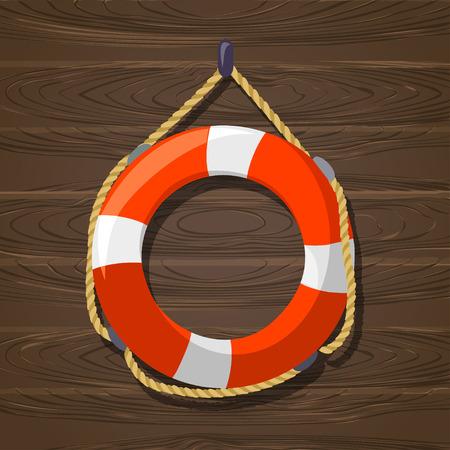 Lifebuoy. wooden background. vector illustration