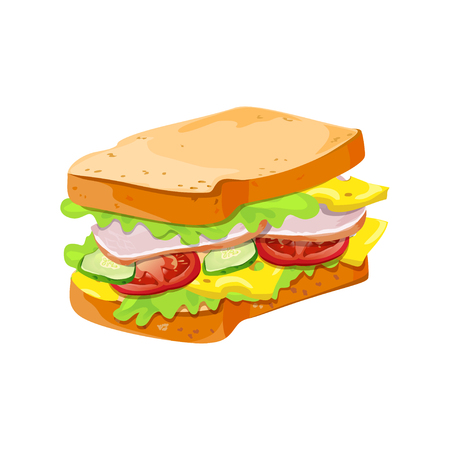 sandwich with vegetables and meat. isolated. vector illustration