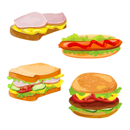 Satz von Sandwiches, Hamburger. Fast Food. Vektor-Illustration Illustration