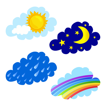 rainbow clouds: day and night, rain and a rainbow, clouds. vector illustration Illustration