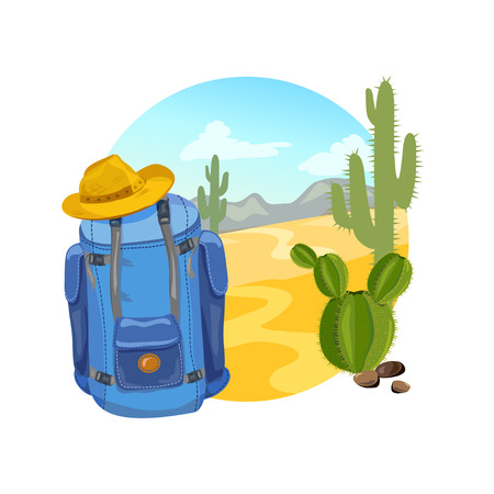 hiking, backpack, icon with landscape. vector illustration Illustration