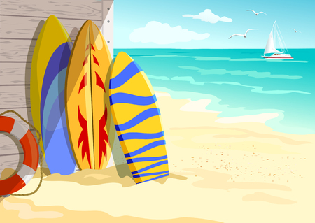 surfing on the beach. summer holidays. vector illustration