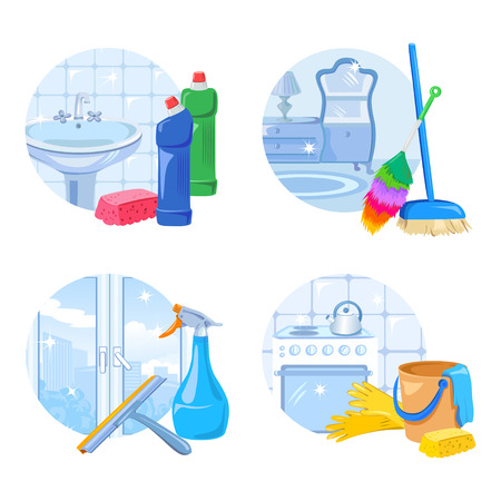 cleaning service icon set. vector illustration Illustration