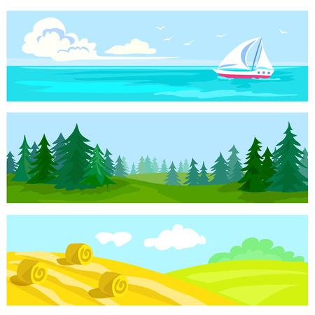 Set der natürlichen Landschaft, Wald, Feld, Meer. Vektor-Illustration Illustration