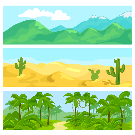 panoramic nature: set of natural landscapes. vector illustration