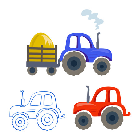 set of tractors, trailers, linear contour. vector illustration