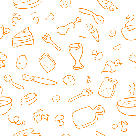 food, cooking, seamless pattern line. vector illustration