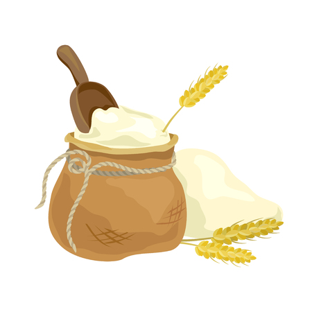 sacks: flour bag and wheat spikelets. vector illustration