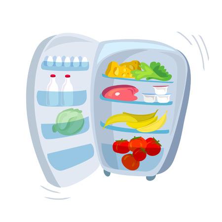 Kühlschrank im Freien mit Essen. Vektor-Illustration