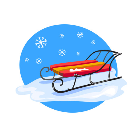 winter icon with sled. vector illustration Illustration