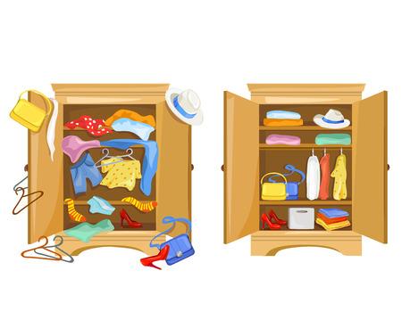 cuarto desordenado: armarios con ropa. ordenado y el desorden en el armario. ilustración vectorial