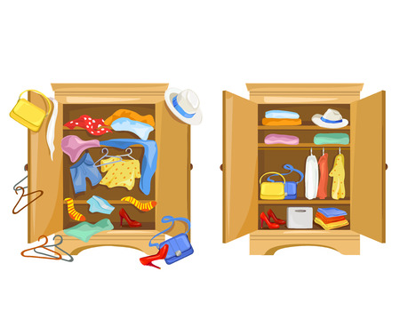 clutter: wardrobes with clothes. tidy and clutter in the closet. vector illustration