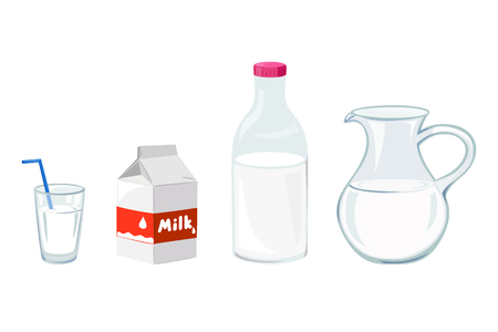 milk, a set of different containers. vector illustration