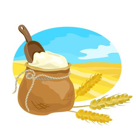 農業のエンブレム、小麦粉、小麦。ベクトル図