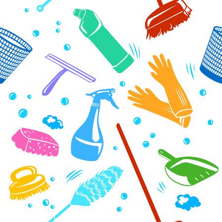 Ein Haus Reinigung Werkzeuge Hintergrund nahtlose Vektor-Illustration.