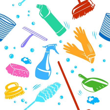A home cleaning tools  background seamless vector illustration.
