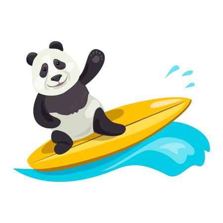 funny panda on surfing. vector illustration Illustration