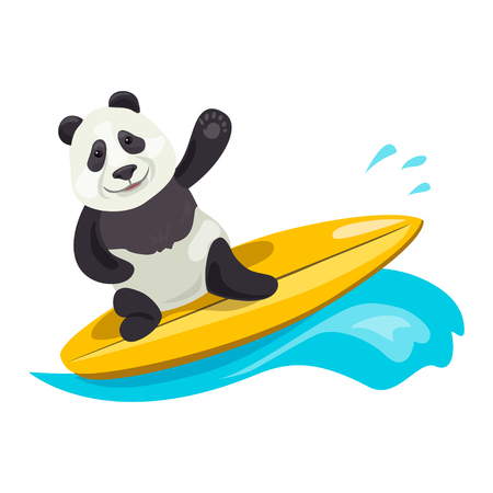 Lustiger Panda beim Surfen. Vektor-Illustration Illustration