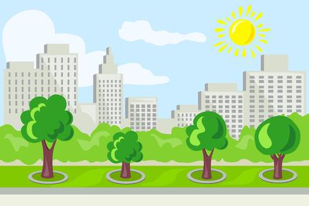 An urban landscape, park avenue vector illustration.