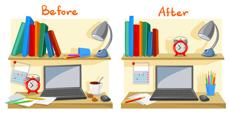 messy desktop clutter, tidy desk. vector illustration 일러스트