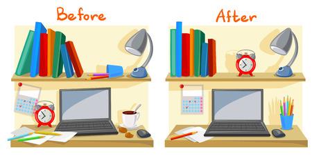messy desktop clutter, tidy desk. vector illustration Vectores