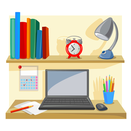 desktop, tidy, place for office work. vector illustration Ilustrace
