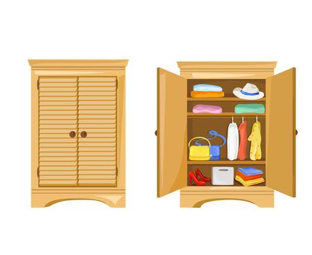 öffnen und schließen Kleiderschrank mit Kleider. Vektor-Illustration Illustration